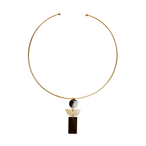 Geometric Buffalo Horn Choker Necklace