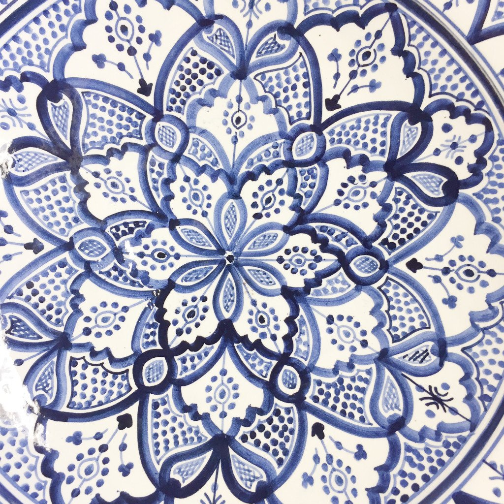 Moroccan Hand-Painted Platter - Blue
