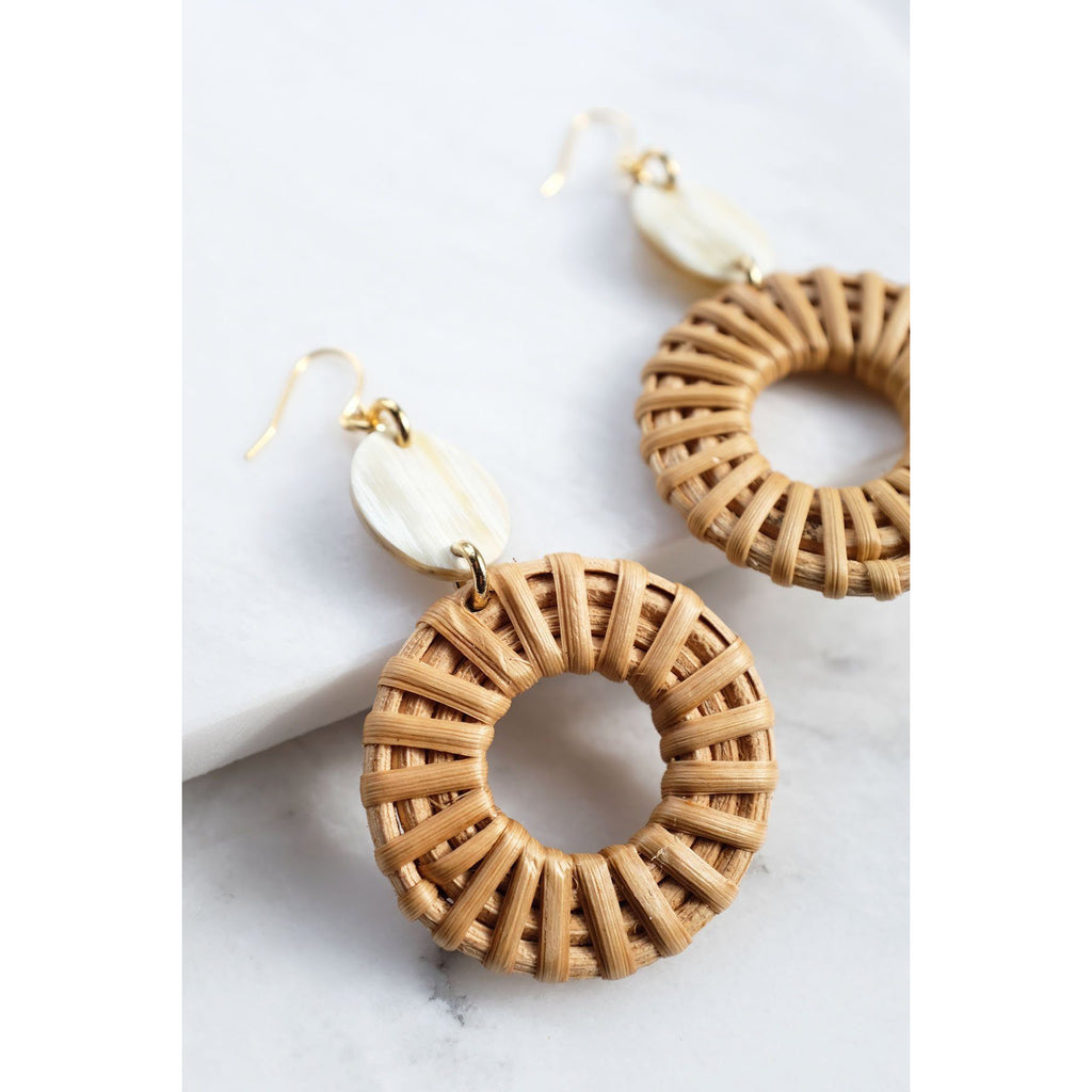 Mua He 16K Gold-Plated Brass Buffalo Horn & Rattan/Wicker Geo Statement Earrings