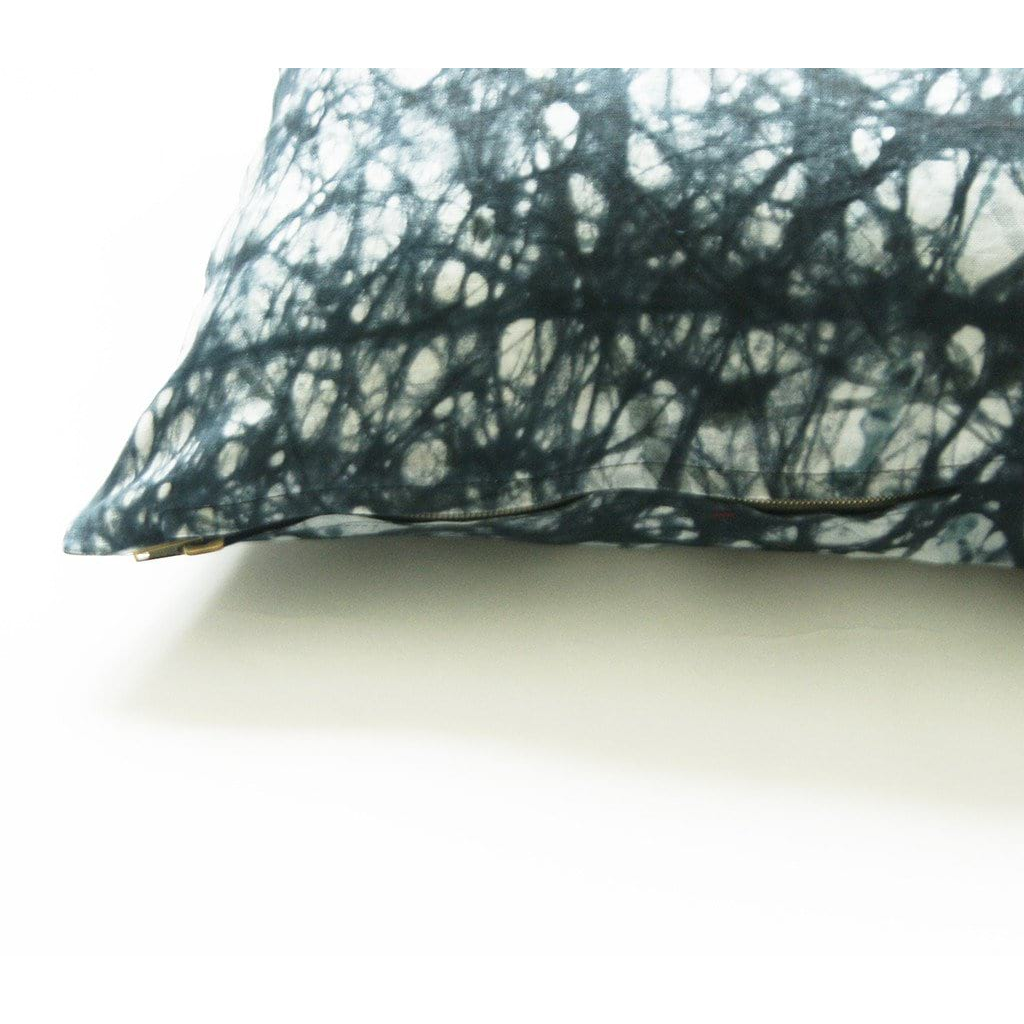 Black Splatter Paint African Batik Linen Square Pillow