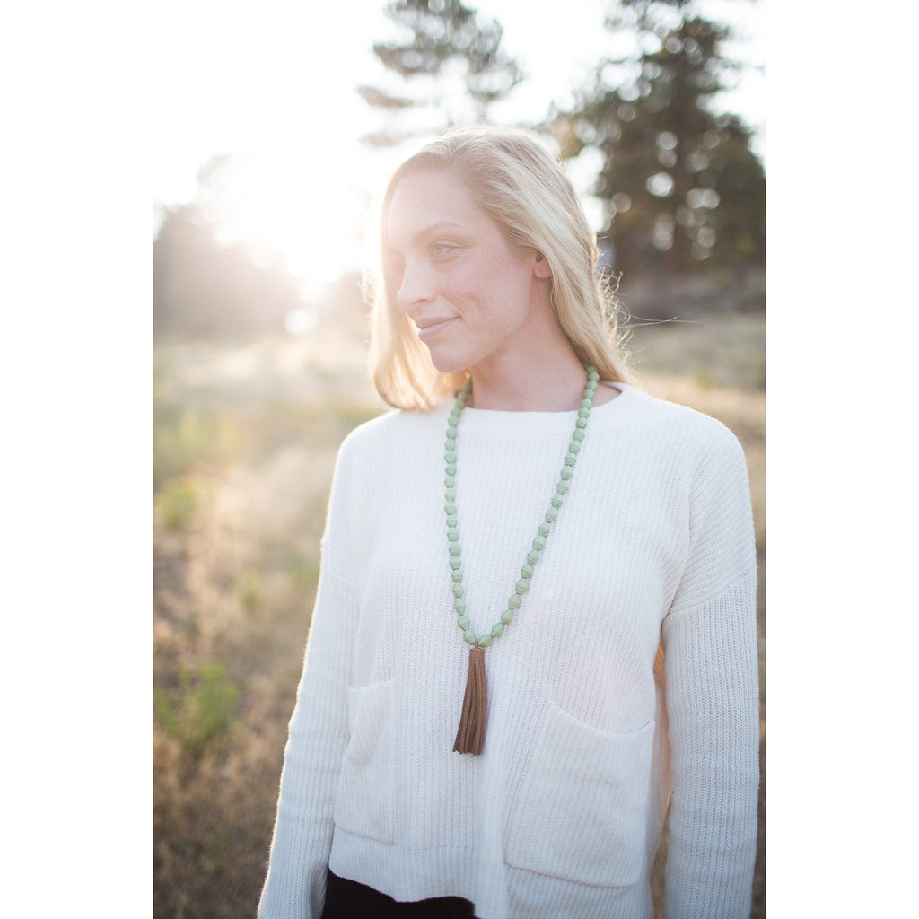 The Chai Tassel Necklace (Olive Green)