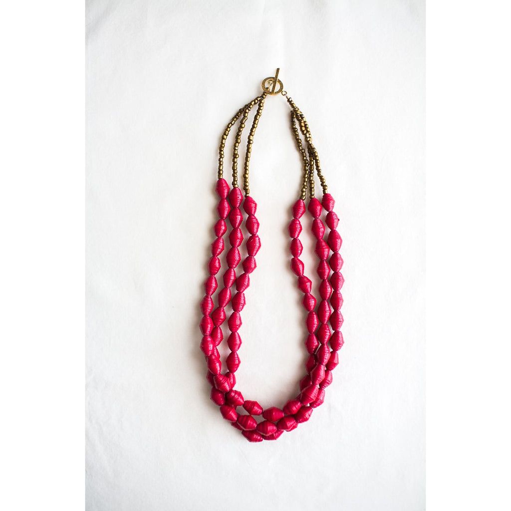 The Three Strands Necklace (Red)