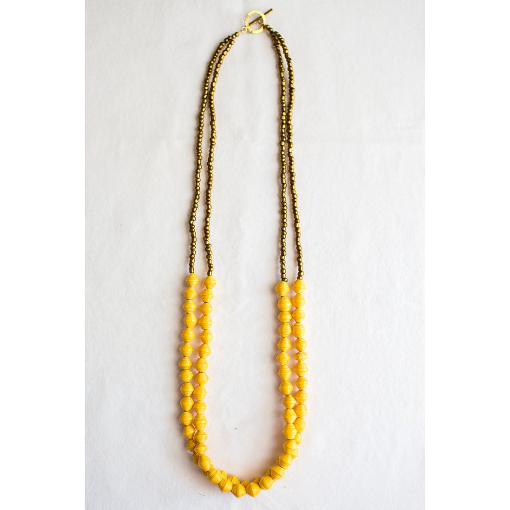 The Two Strands Necklace (Dark Yellow)