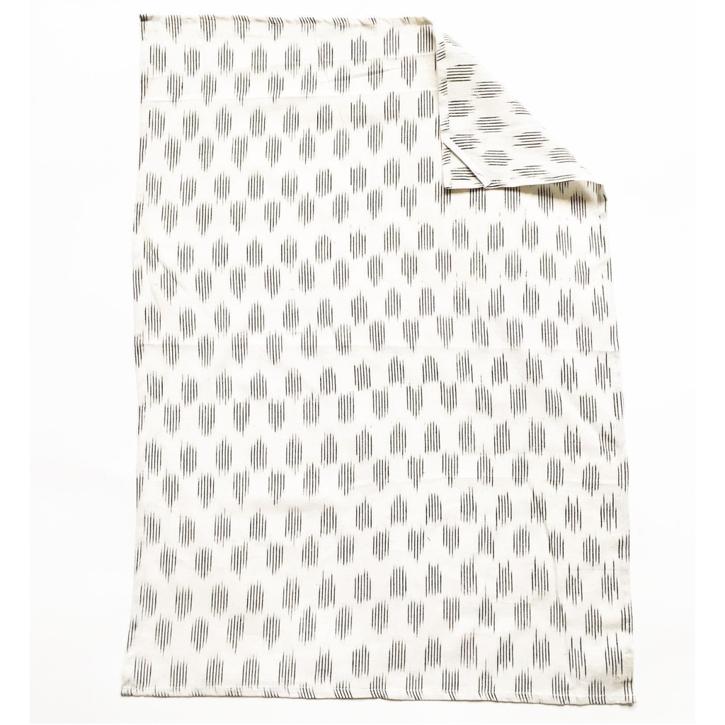 Cotton Handwoven Ikat Kitchen Tea Towel White Modern Dot