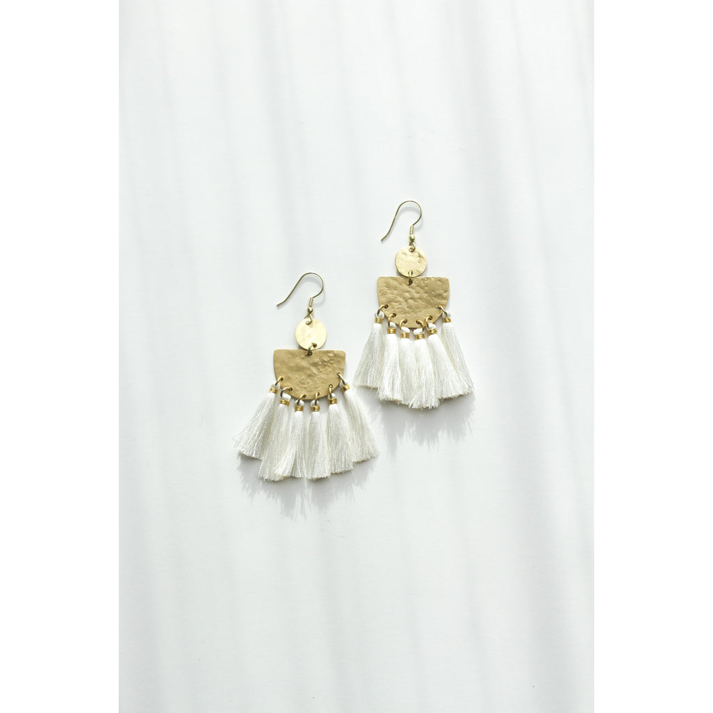 Tasseling White Earrings