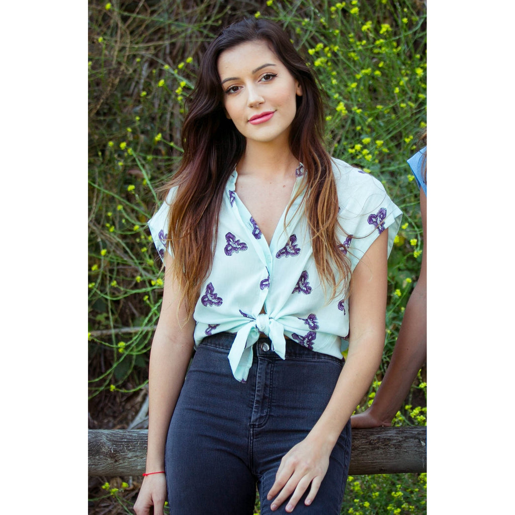 Printed Iris Blouse in Pale Mint + Blueberry