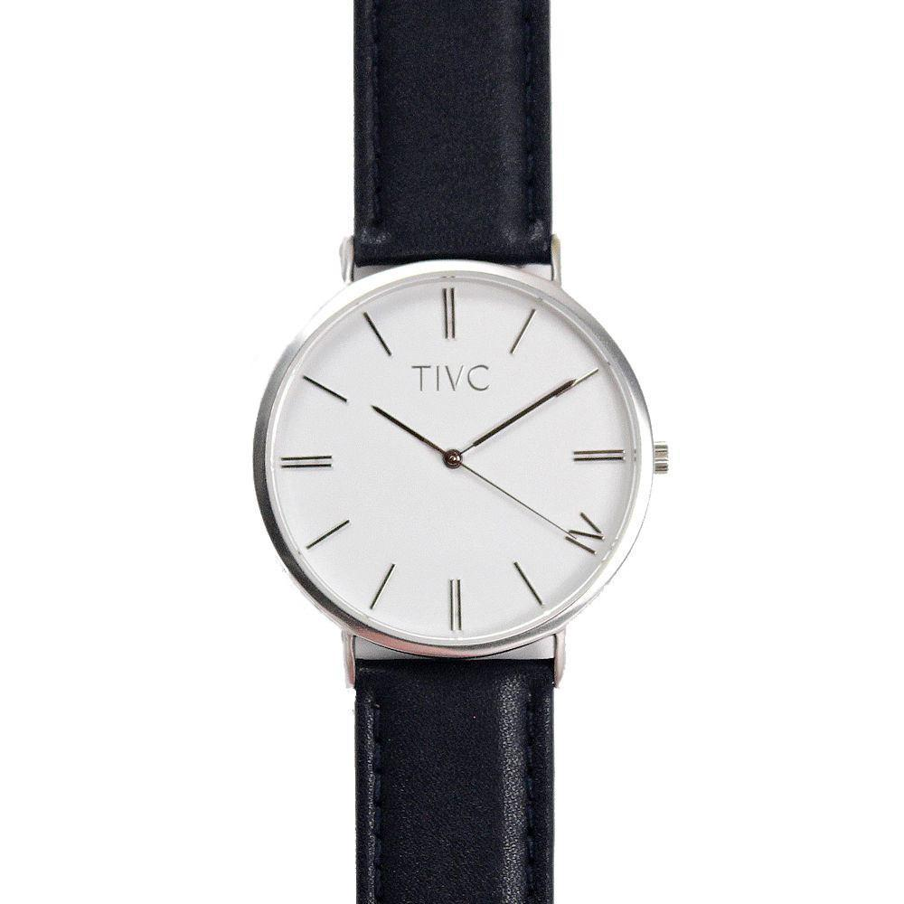 36mm Silver | Black Vegan Watch
