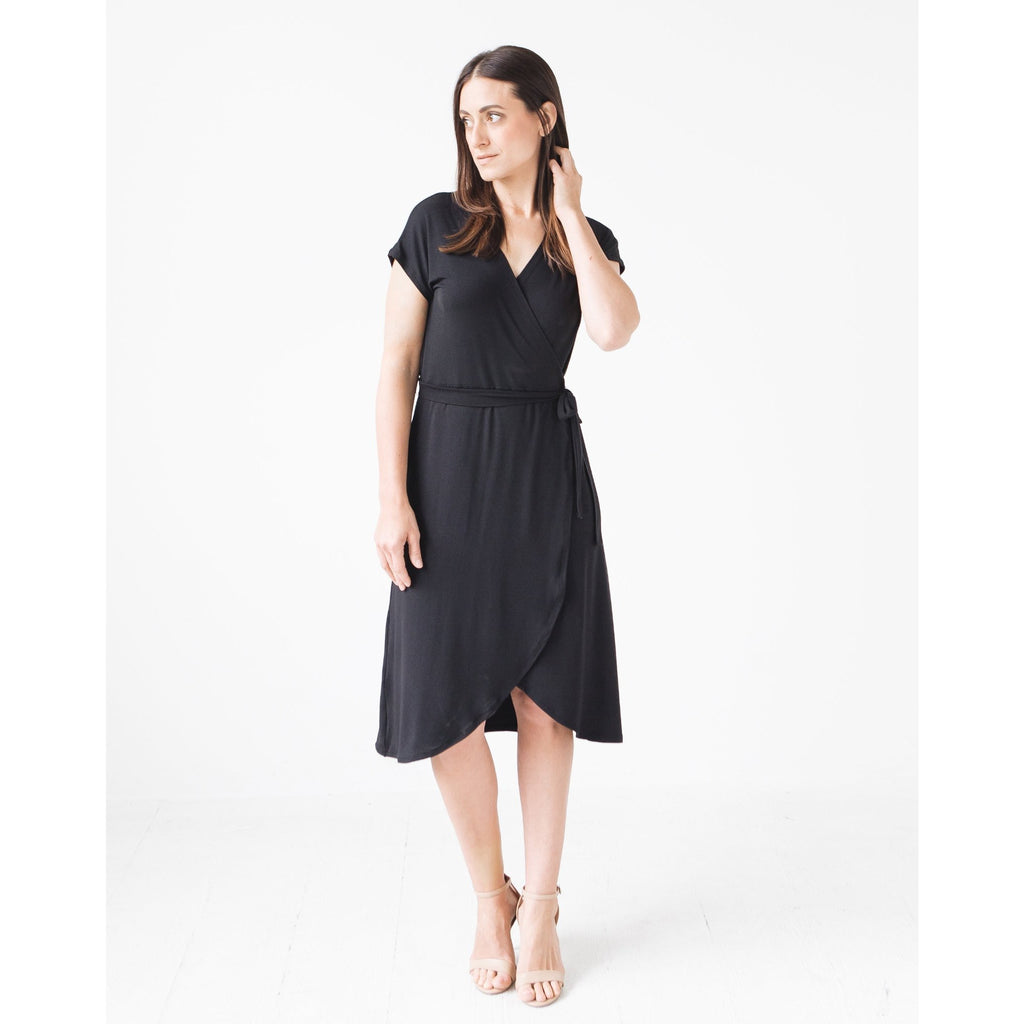 Allie Modal Knit Wrap Dress: Black