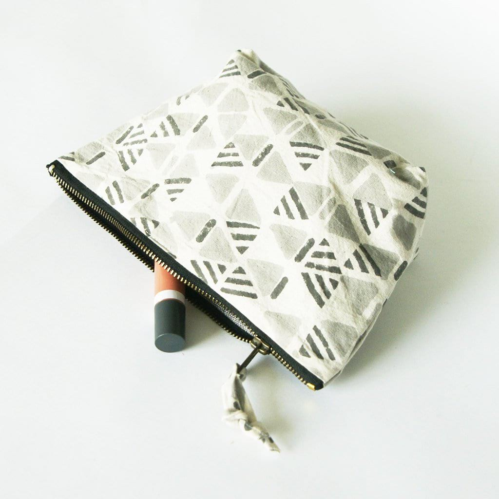 Grey Triangle Artisan Made Cosmetic Bag Zipper Pouch