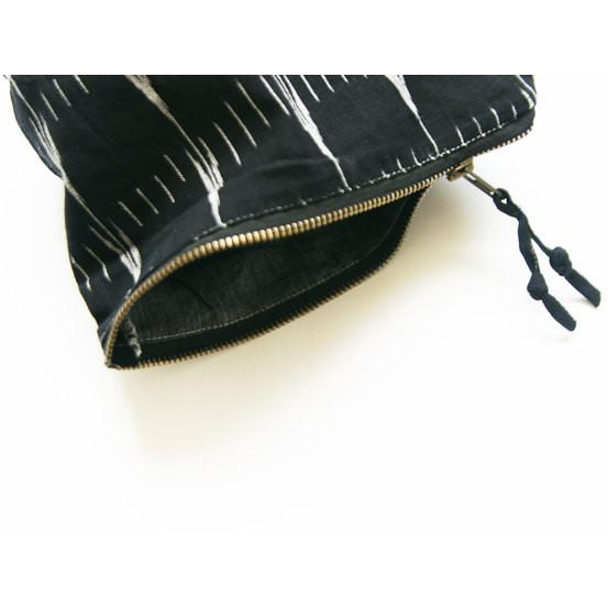 Black Arrow Stripe Cotton Ikat Large Zipper Pouch