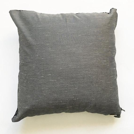 Ikat Pillow Black Grey Dash Handwoven Cotton