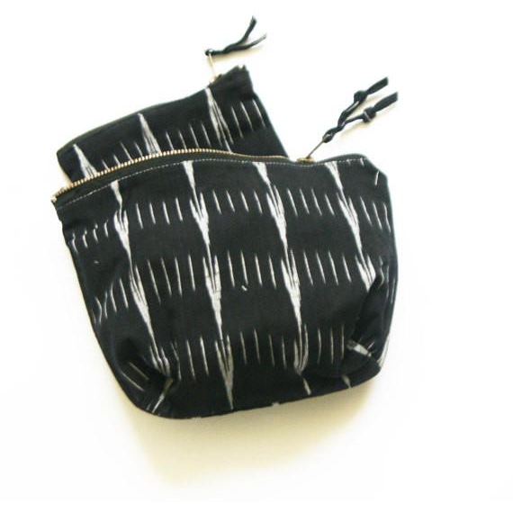 Black Ikat Arrow Stripe Handwoven Cotton Zipper Pouch Coin Purse