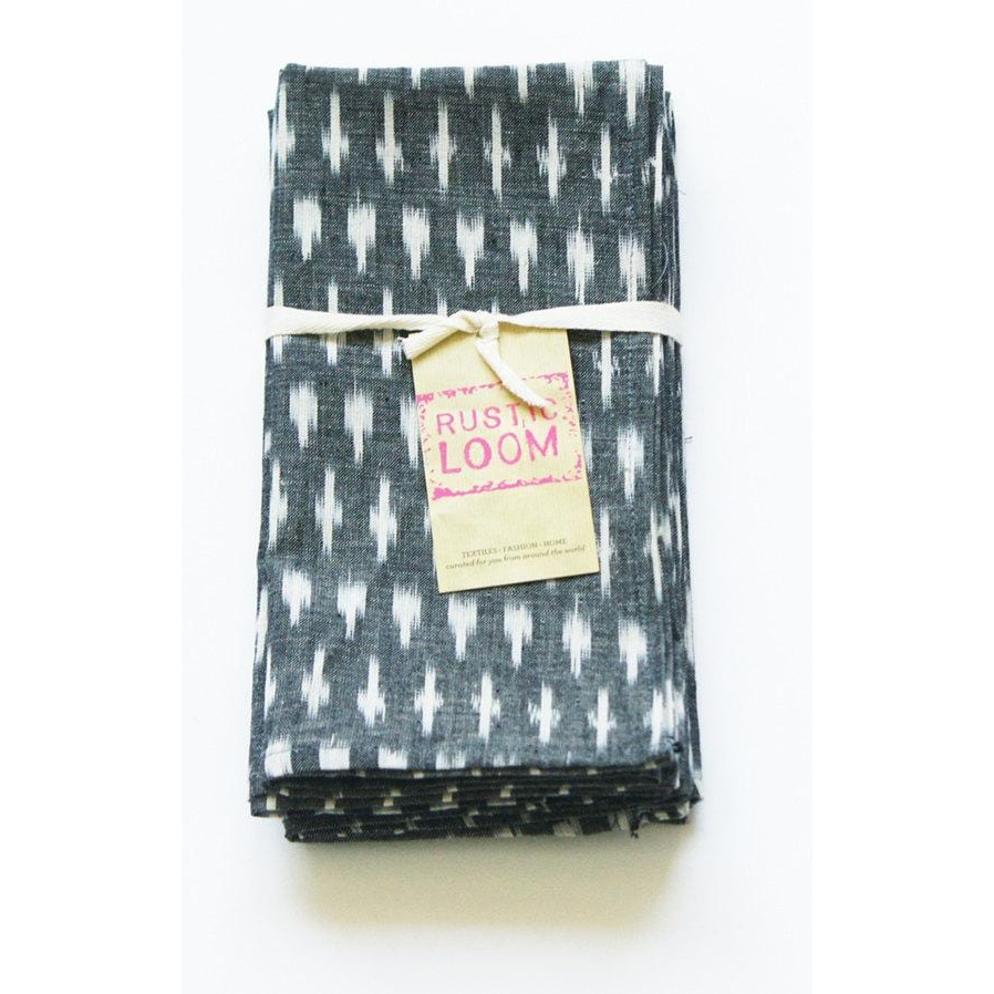 Grey White Dash Handwoven Ikat Cotton Table Napkin
