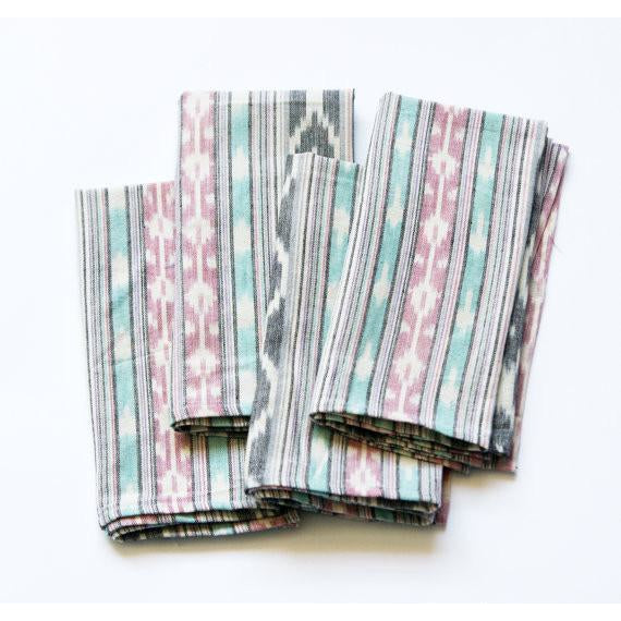 Aqua Pink Stripe Handwoven Ikat Table Napkin Set of 4