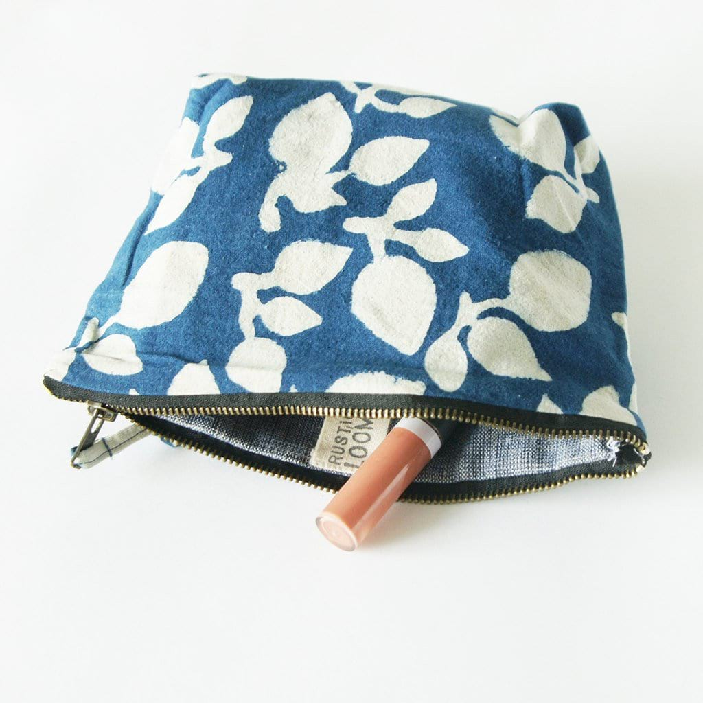 Indigo Blue Leaf Cosmetic Bag Zipper Pouch
