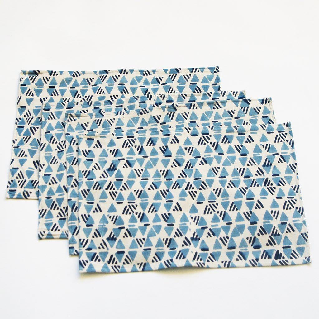Blue White Handprinted Placemat Set Geometric Print