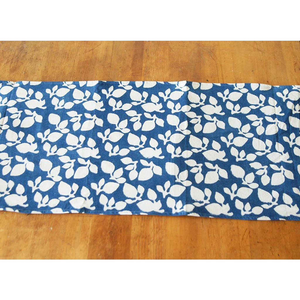 White Blue Leaf Table Runner Block Print