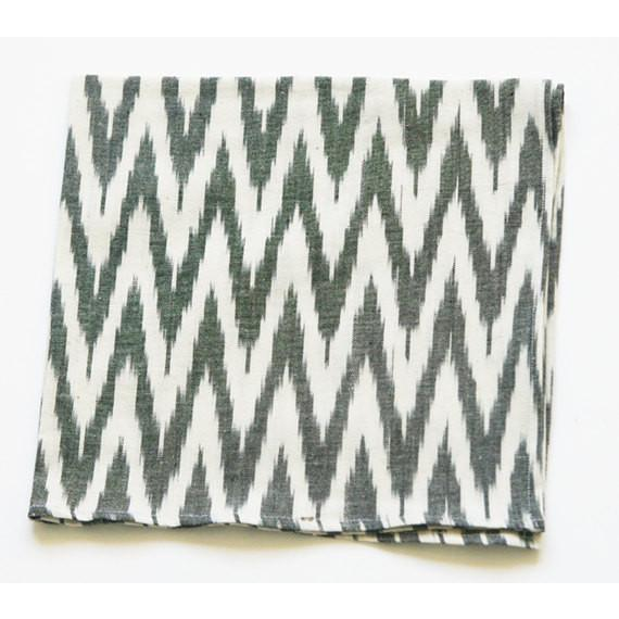Handwoven Cotton Cloth Napkin Grey Ikat Zig Zag Set of 4