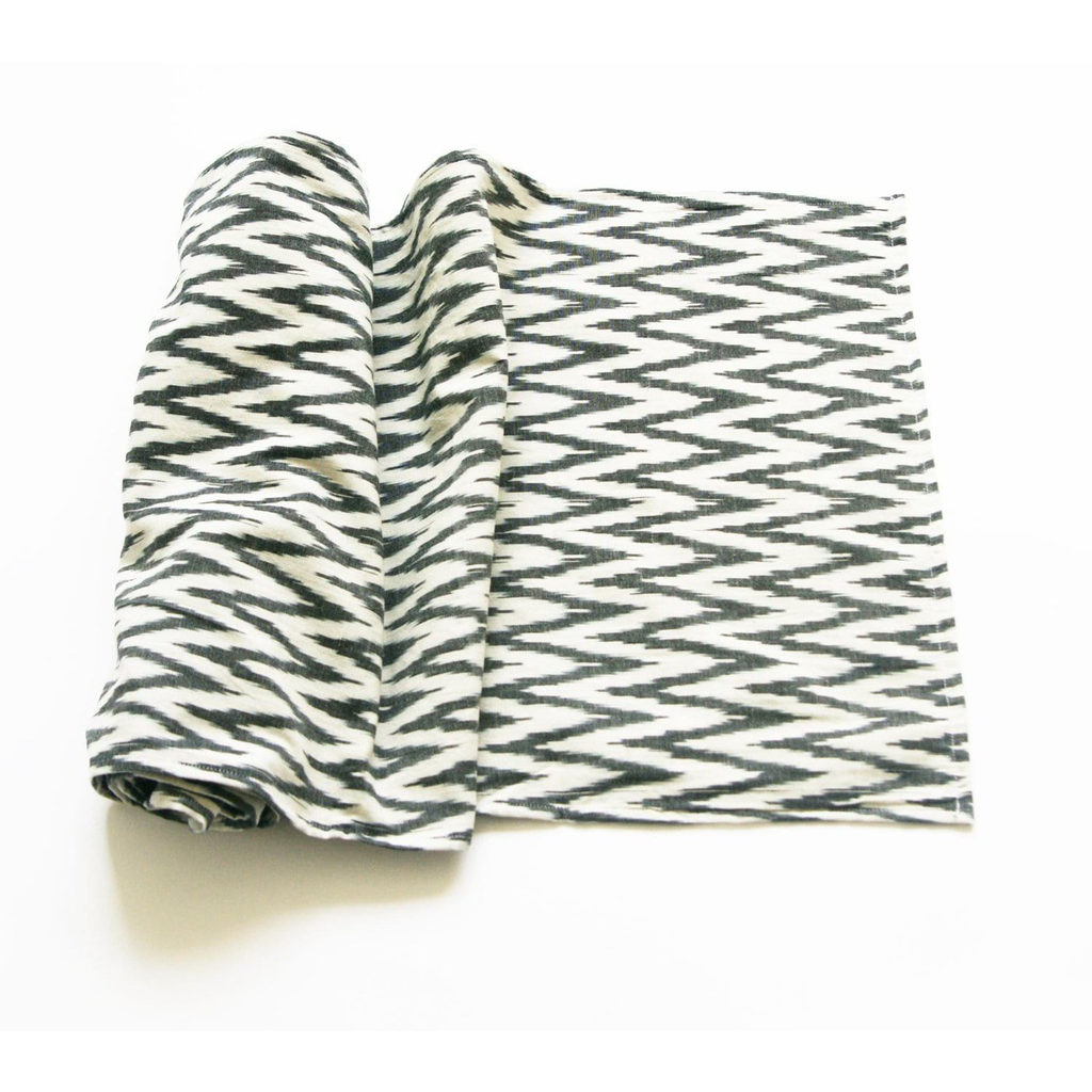 Table Runner Grey and White Handwoven Cotton Ikat Zig Zag