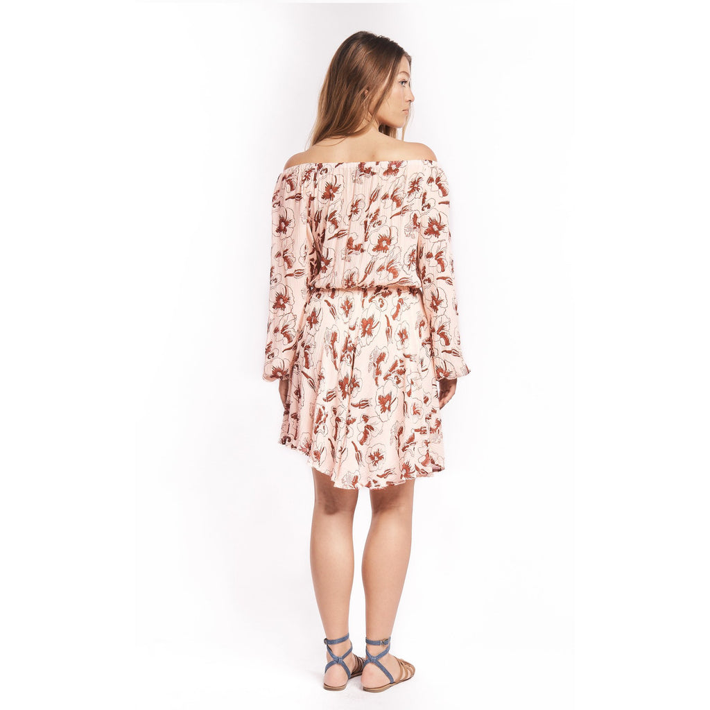 Hibiscus Flower Off the Shoulder Dress in Rose + Berry