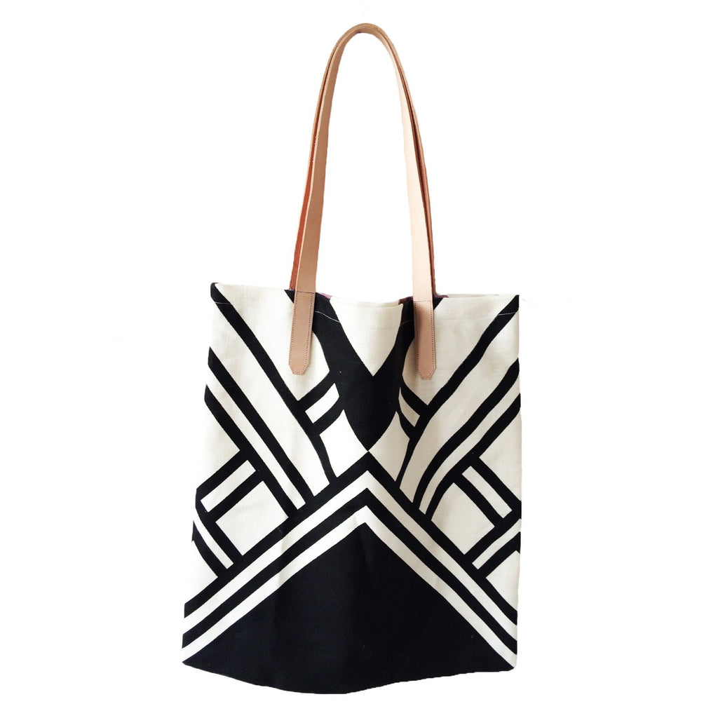 Hemp Tote with Leather Handle - Black Graphic