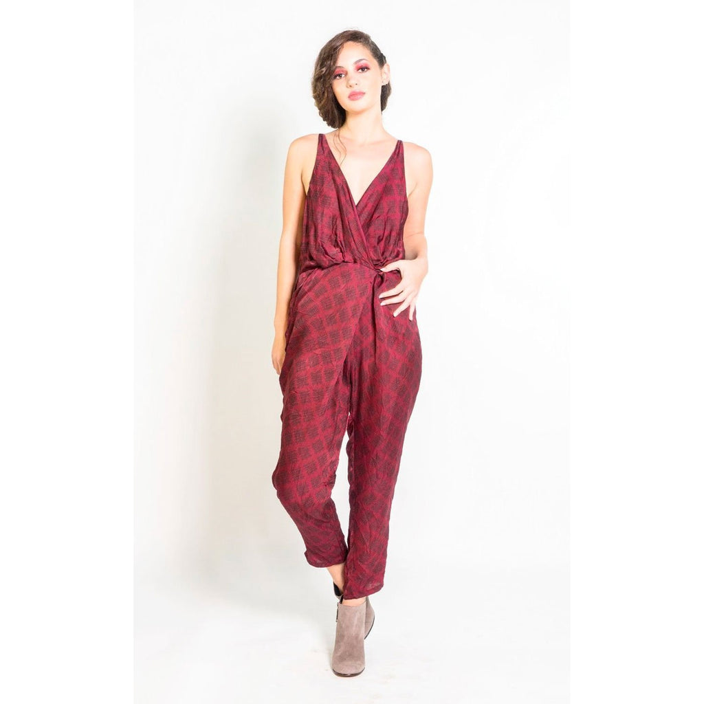 Silk Strappy Jumpsuit in Berry & Black Sketched Plaid