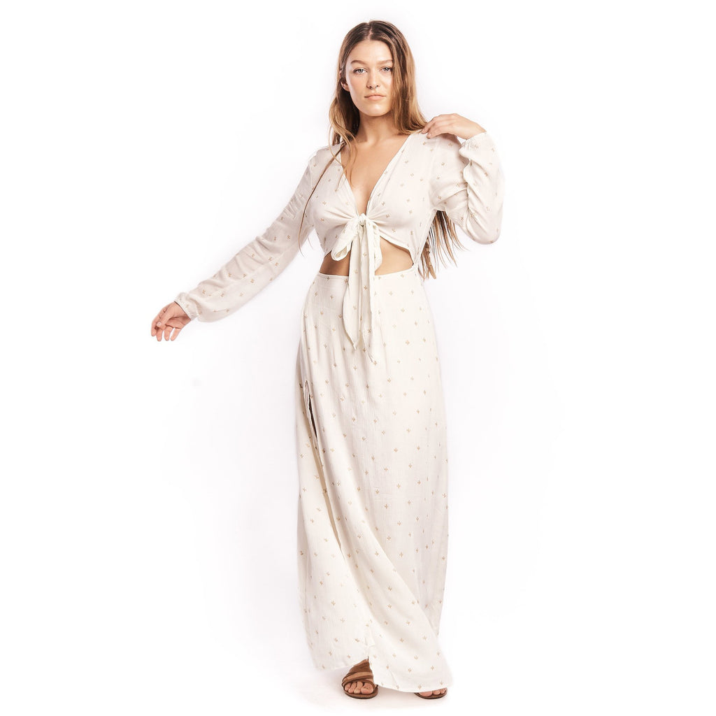 Baby Cacti Tie Front Maxi in Cream + Gold