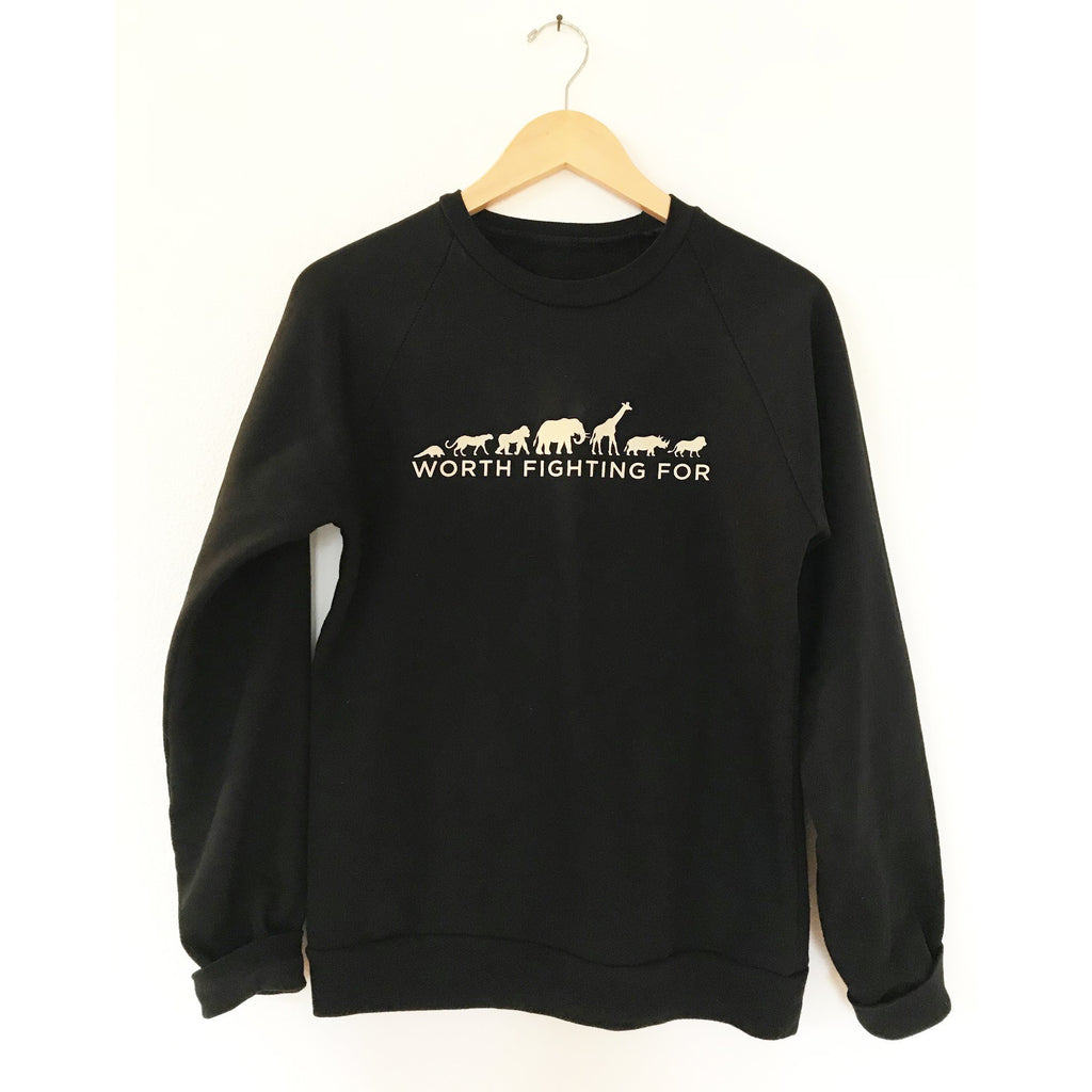 Worth Fighting For Organic Cotton Fleece Top - Black