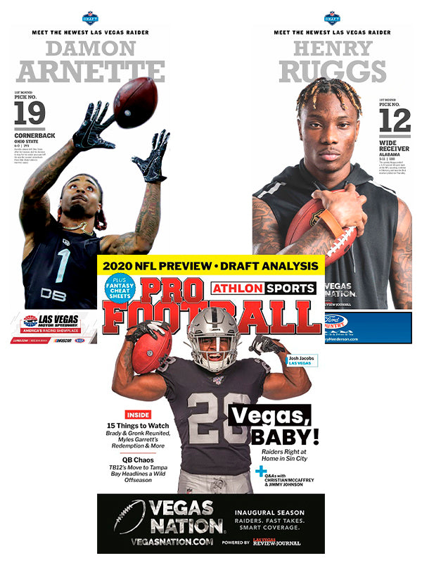 2020 Las Vegas Raiders NFL Preview magazine plus free first round pick poster bundle