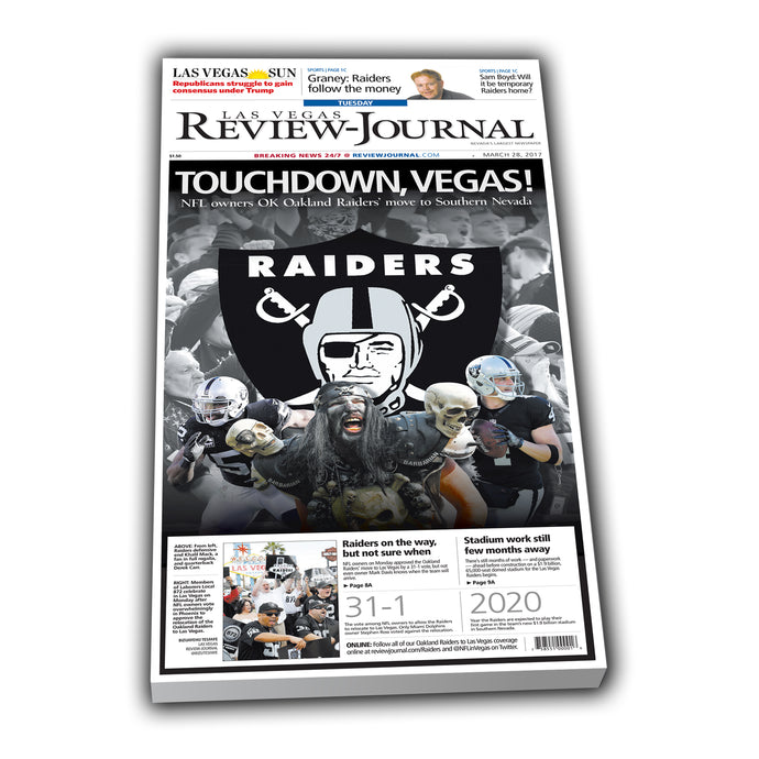 Review-Journal Raiders Announcement Collectible