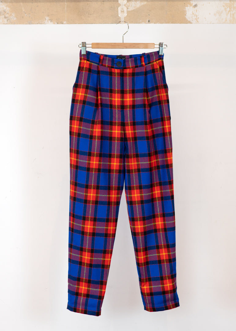 August Pants Blue and Red Check