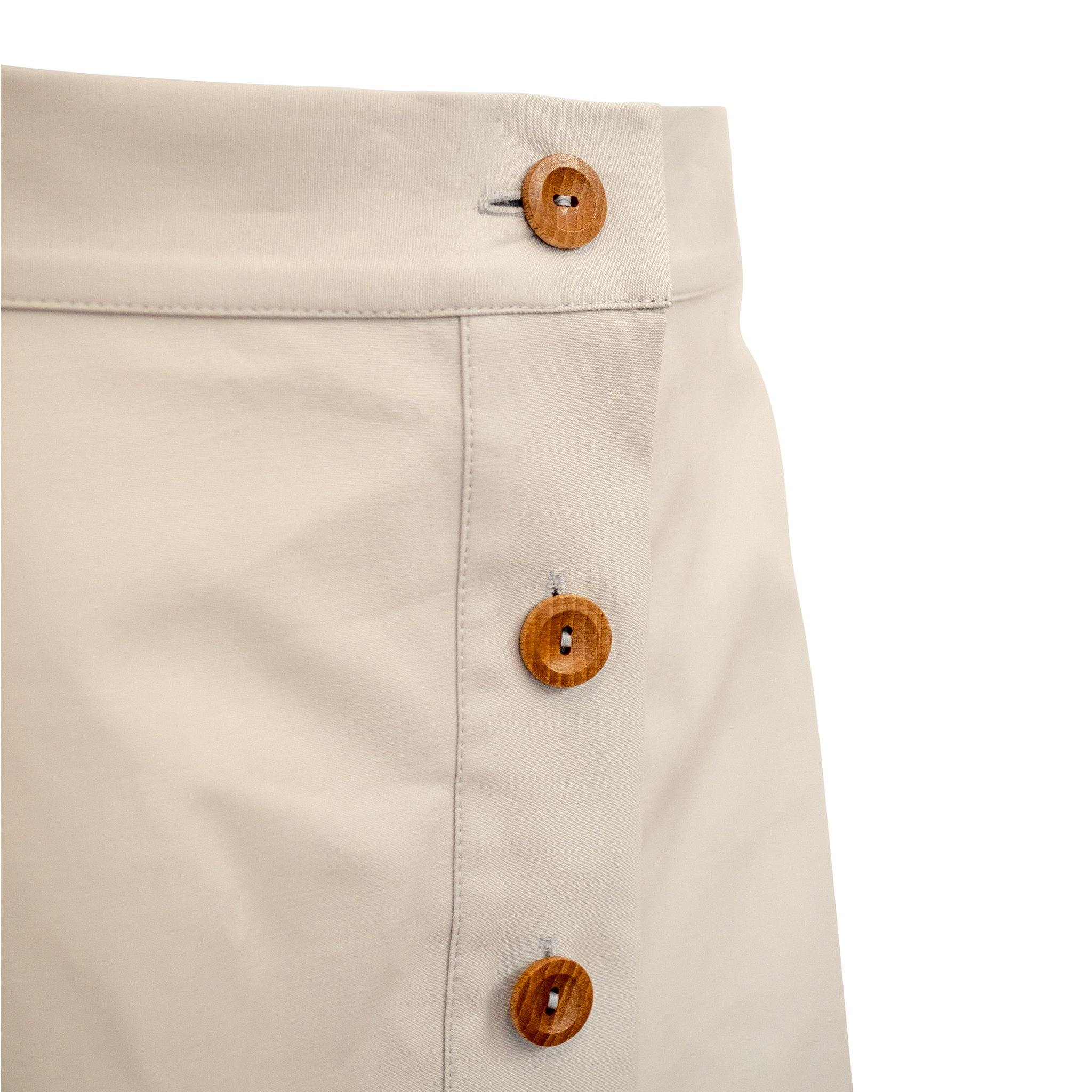 Button Skirt Cream with Wooden Buttons