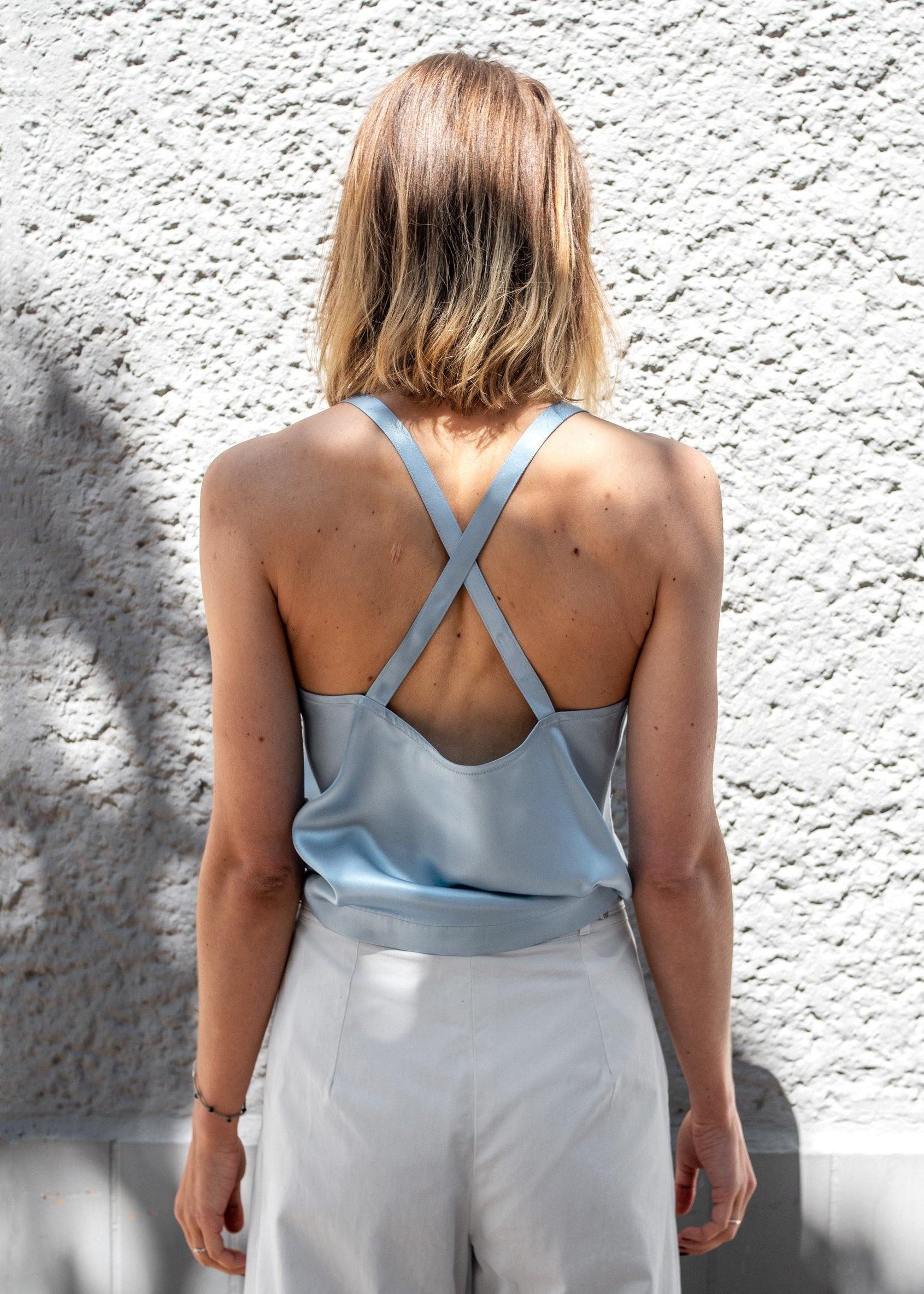 Grace Top Sky Blue Silk