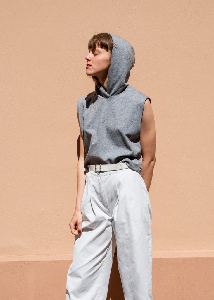 July Hoodie Vest Grey - Corvera Vargas berlin conscious fashion brand. July Hoodie Vest Grey for women.