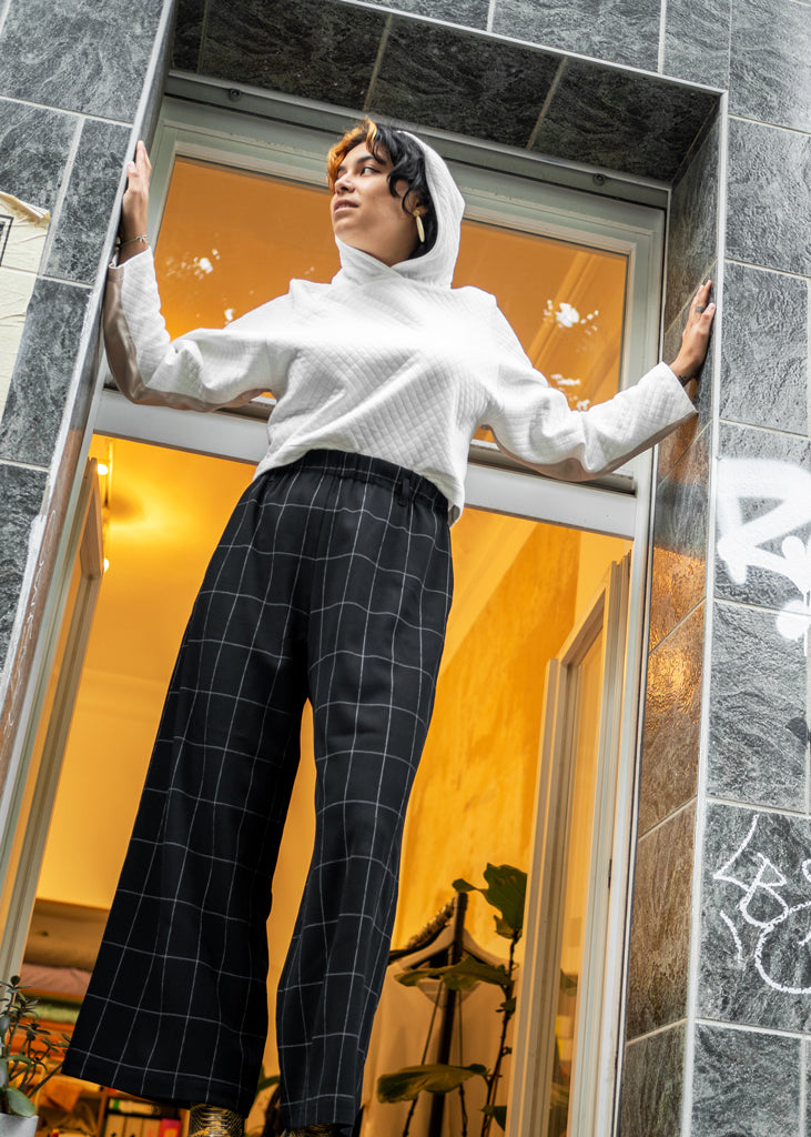 Luise Pants Black Graph Check - Corvera Vargas berlin conscious fashion brand. Luise Pants Black Graph Check for women.