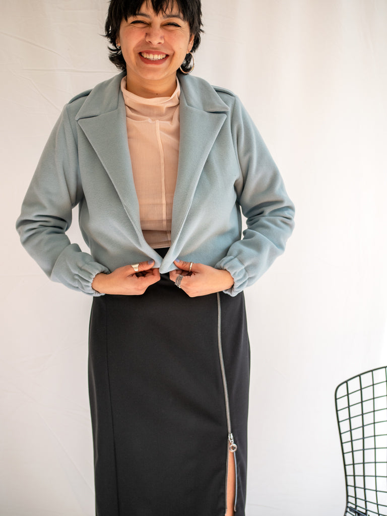 NL Jacket Short Powder Blue - Corvera Vargas berlin conscious fashion brand. NL Jacket Short Powder Blue for women.