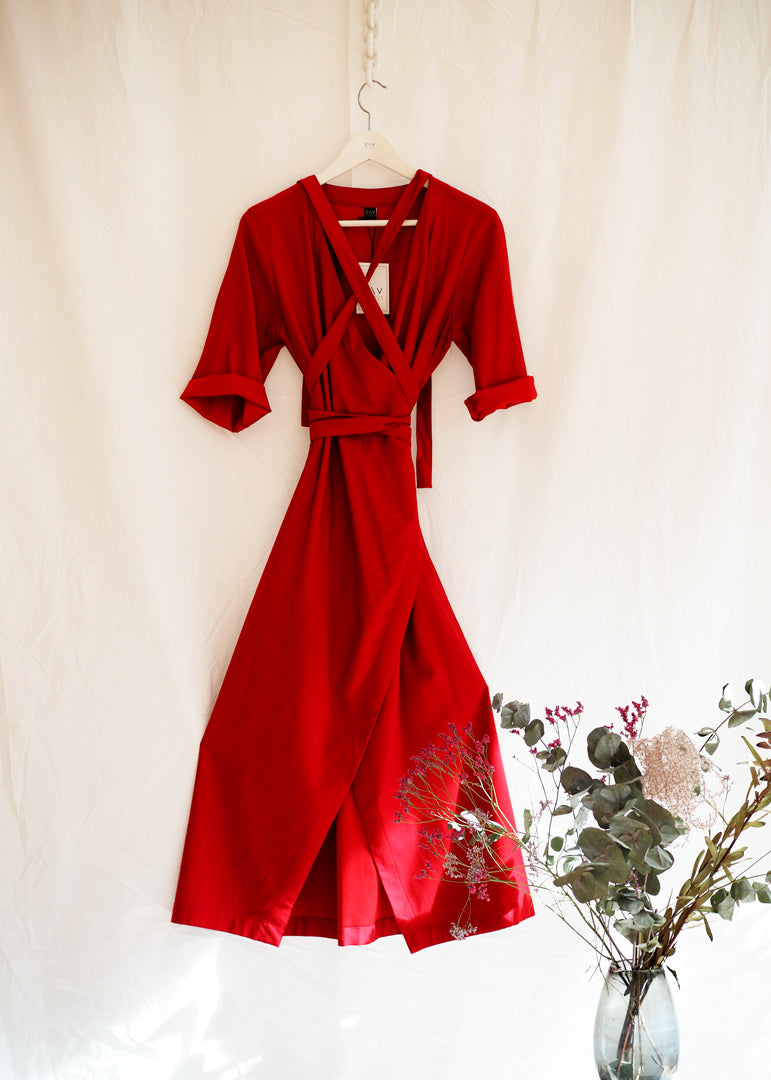 Sandra Dress Red - Corvera Vargas berlin conscious fashion brand. Sandra Dress Red for women.