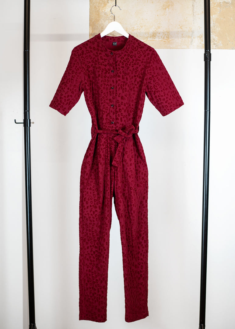 Tanger Jumpsuit Leopard Red - Corvera Vargas berlin conscious fashion brand. Tanger Jumpsuit Leopard Red for women.
