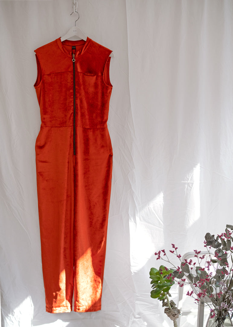 Tanger Zip Up Jumpsuit Rust Velvet - Corvera Vargas berlin conscious fashion brand. Tanger Zip Up Jumpsuit Rust Velvet for women.
