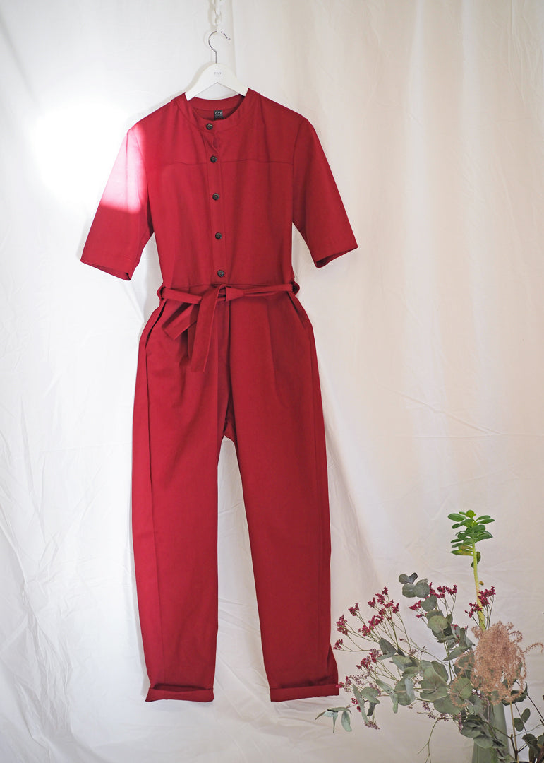 Tanger Jumpsuit Brick Red - Corvera Vargas berlin conscious fashion brand. Tanger Jumpsuit Brick Red for women.