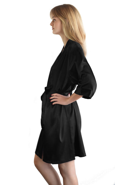 Solid Black Satin Bridesmaid Robe
