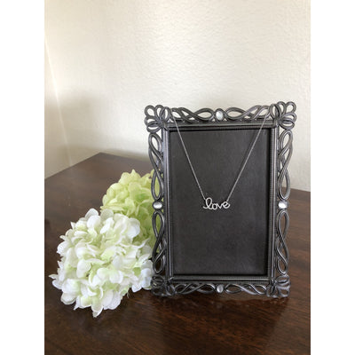 Pave Cz Love Sterling Silver Necklace - 20% Off