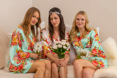 Sabrina Floral Print (Aqua) Bridesmaid Satin Robe - Sale