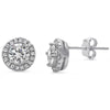 Halo Cz Stud Sterling Silver Earrings - 20% Off