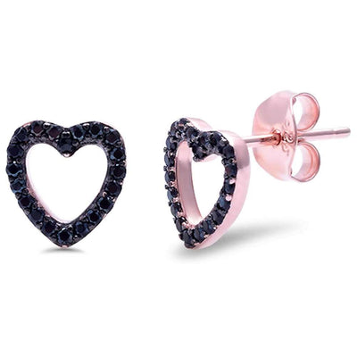 Rose Gold Plated Black Cz Heart Sterling Silver Earrings - 20% Off