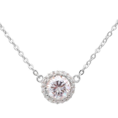 Sterling Silver CZ Halo Pendant Necklace - 20% Off