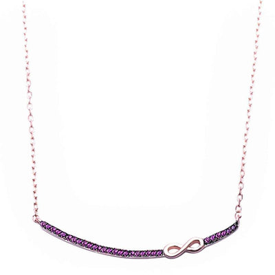 Rose Gold Plated Ruby Bar W/ Infinity Sterling Silver Pendant - Necklace - 20% Off