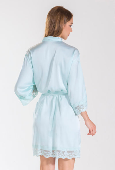 Aqua Matte Satin Bridesmaid Robe