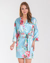 Angelina Aqua Floral Bridesmaid Satin Robe