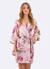 Isabella Pink Floral Bridesmaid Satin Robe